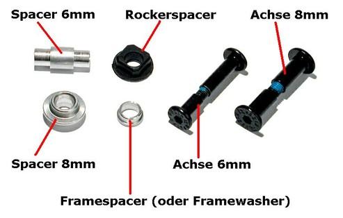 Universal Spacer Axles Kit Achsen und Spacer für Inliner Inlinskates Powerslide